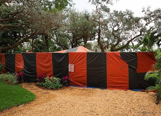 red and black stripe fumigation tent