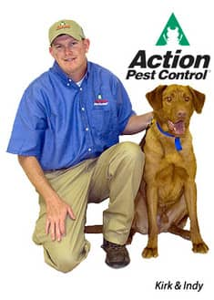 Kirk at Action Pest and bed bug dog Indy