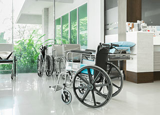 wheelchair in the middle of a hospital