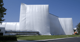 office building being tented to fumigate pests