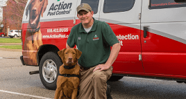 tech with bed bug dog outside indianpolis home