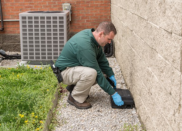 a technician checking a rodent station