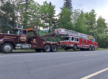 Towing a fire truck