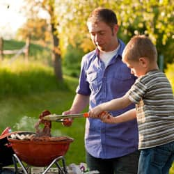 father and son barbecue
