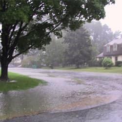 residential neighborhood during rain storm
