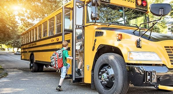 a child boarding a long yellow school bus on his first week of school fully unaware of the bed bug infestation his classmate is about to pass on