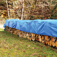 stack of wood outside covered by a tarp