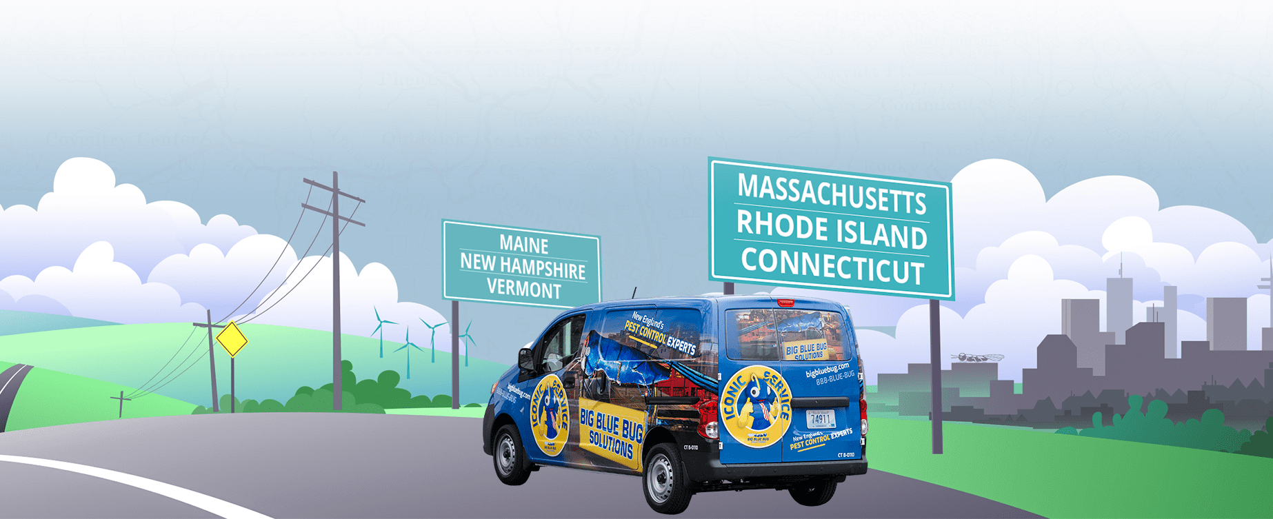 big blue bug van graphic driving