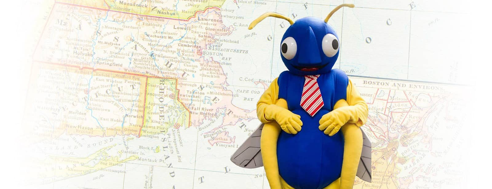 big blue bug mascot and a map of where we service
