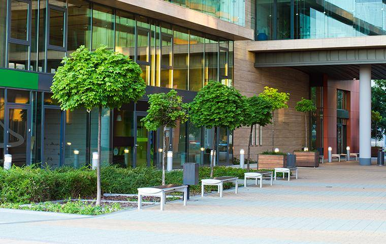 a commercial building courtyard