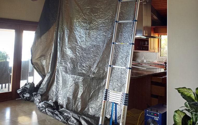 tarp and ladder in home