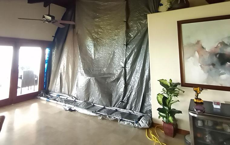 tarped off area in home