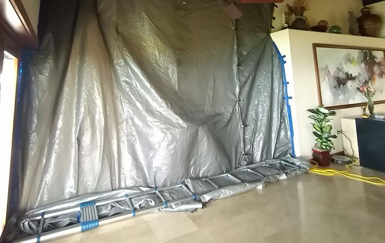 tarped off area
