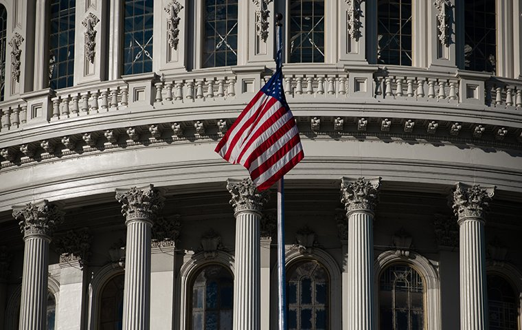 a government building with the american flag
