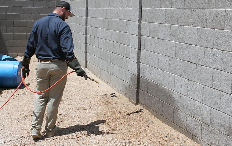technician treating a commercial exterior in mesa arizona