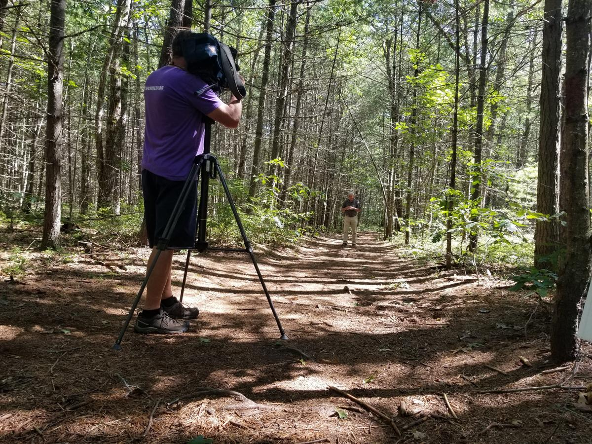 Filming at Alewive Woods. Photo credit: Enock Glidden