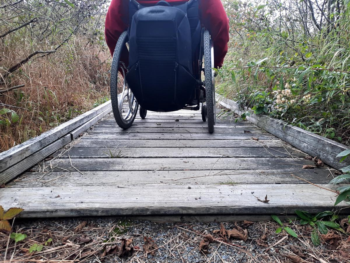 The width of the boardwalk compared to Enock's wheelchair. Photo credit: Enock Glidden