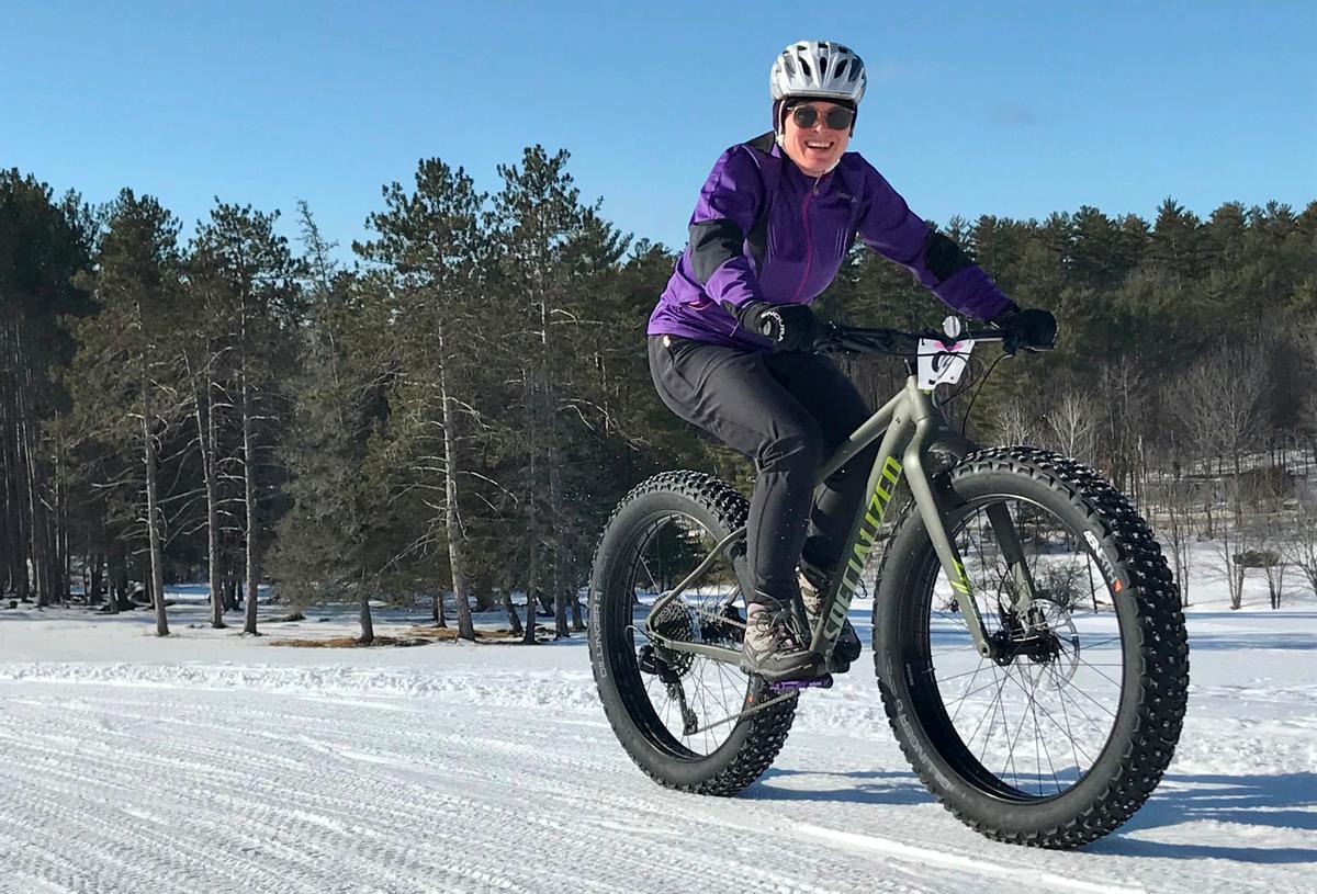 Fat biking at Bethel Village Trails. Photo credit: Inland Woods + Trails