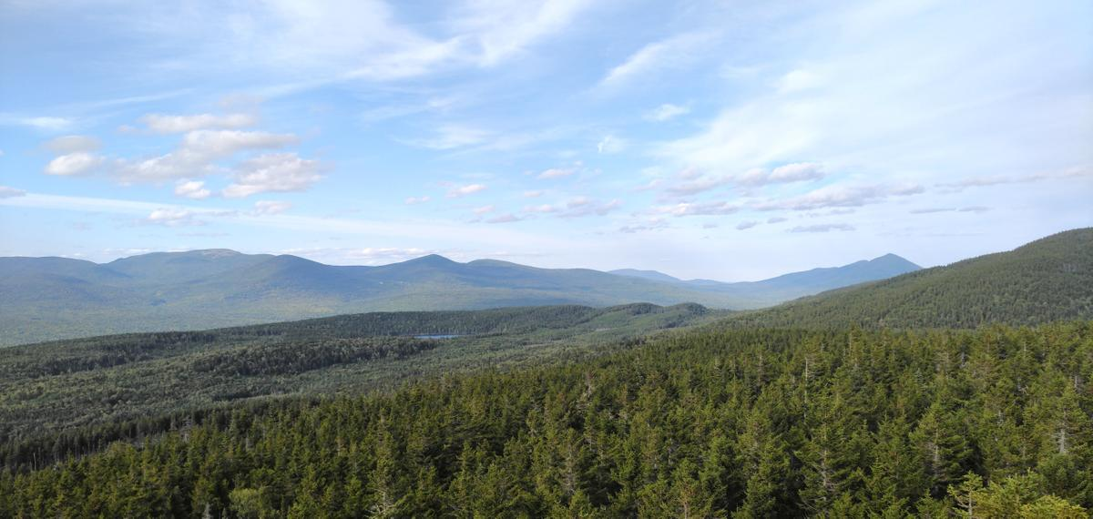 Looking out over AMC's Maine Woods Initiative property from Third Mountain