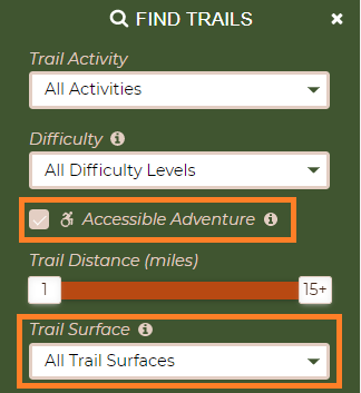 A screenshot of the Find Trails Filter from Maine Trail Finder.