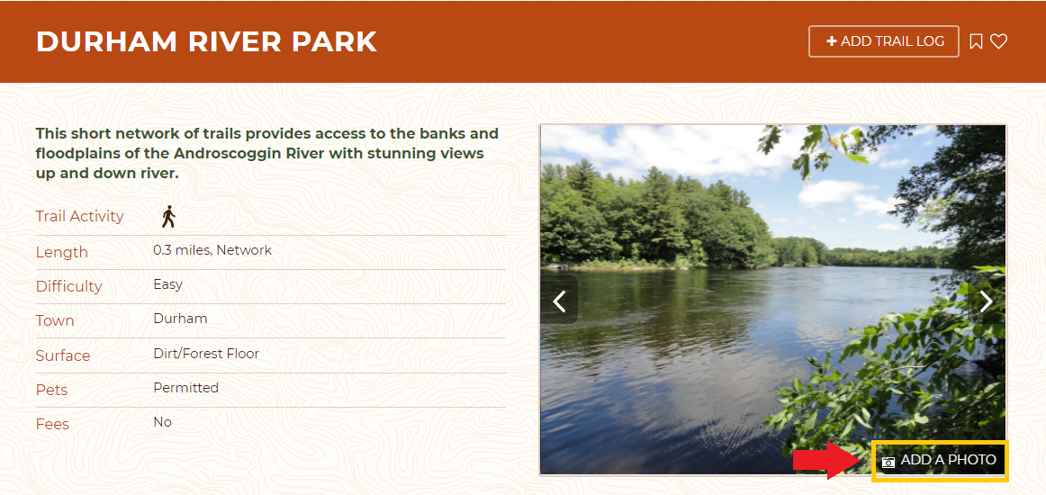 Add photos directly from detailed trail pages!