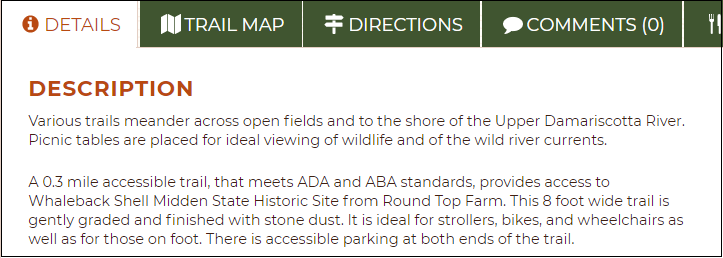 Screenshot of a detailed trail description from Maine Trail Finder.