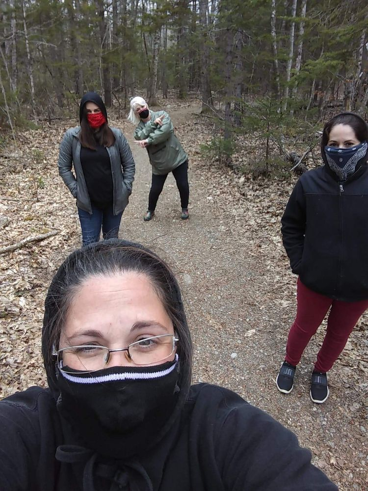 MTF users modeling considerate hiking behavior at Erickson Fields in Rockport.
