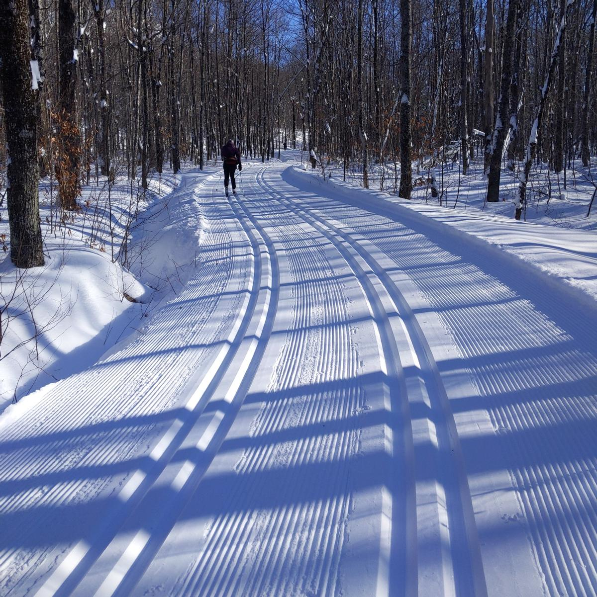 Two groomed ski tracks make up the classic-only trail
