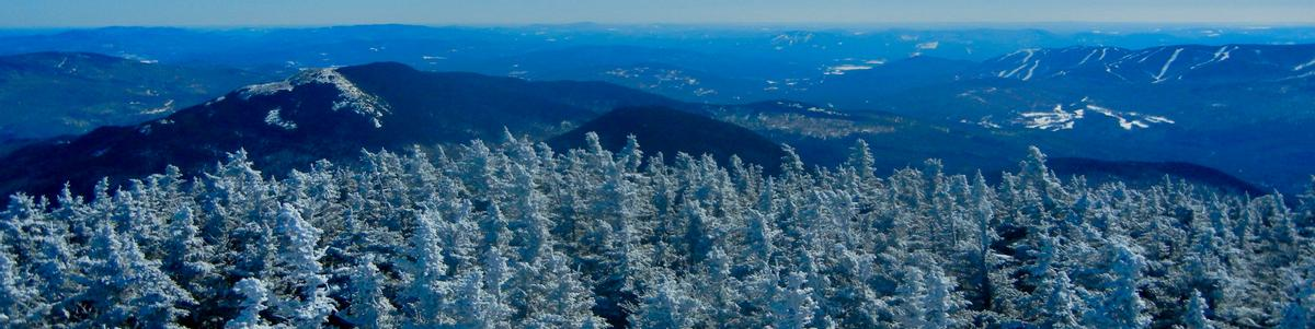 View from the top of a mountain with snowy trees in the foreground and blue mountains and valleys in the background.