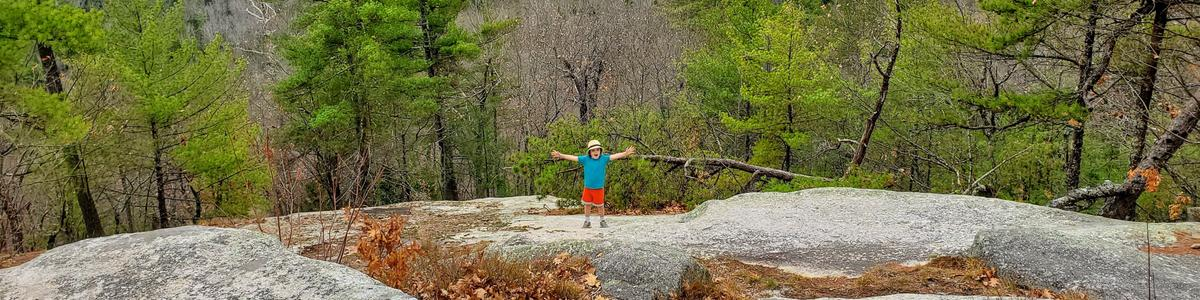 A boy spreads his arms in joy on a rock with trees behind.