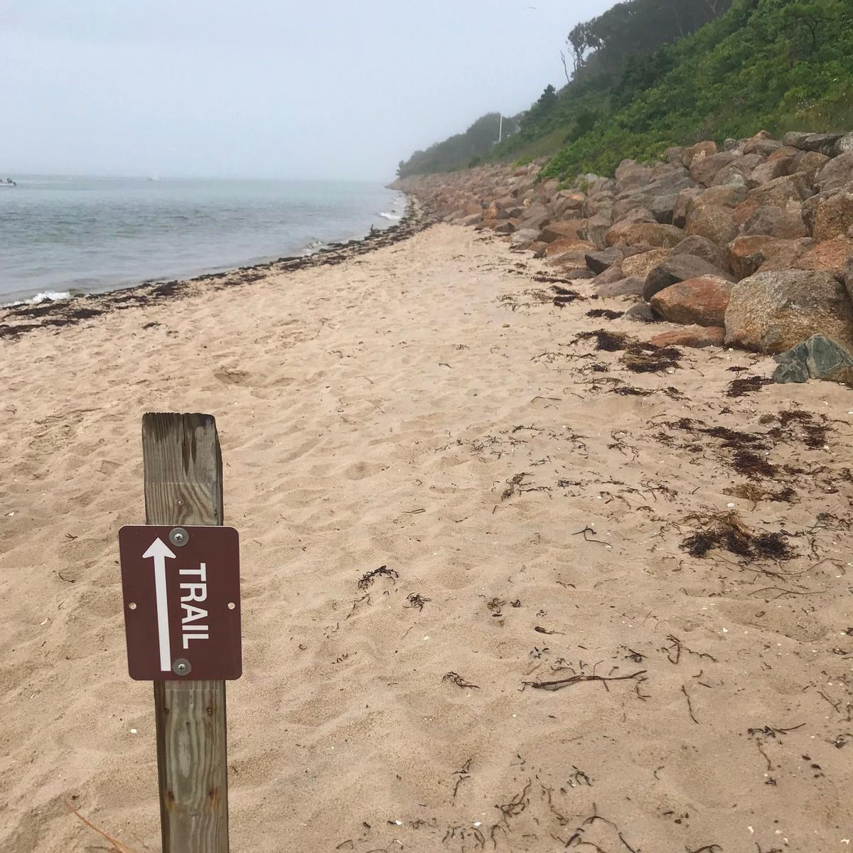 A trail sign with an arrow indicates that the trail goes across a beach