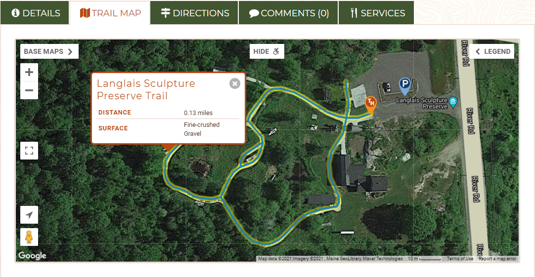 A screenshot of a map of a trail on Maine Trail Finder with the accessible portion highlighted and a pop up with trail details.