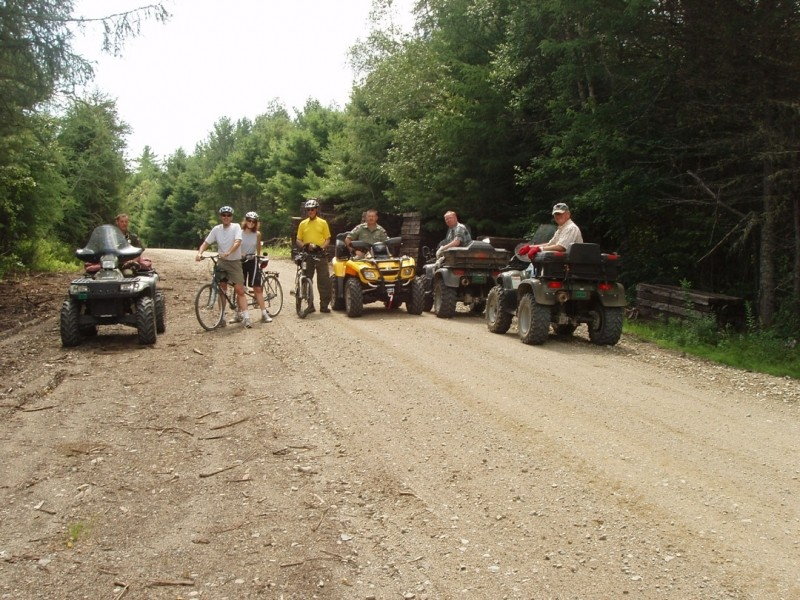 Bicycles and ATVers meet on the Trail (Credit: Maine Bureau of Parks and Lands)