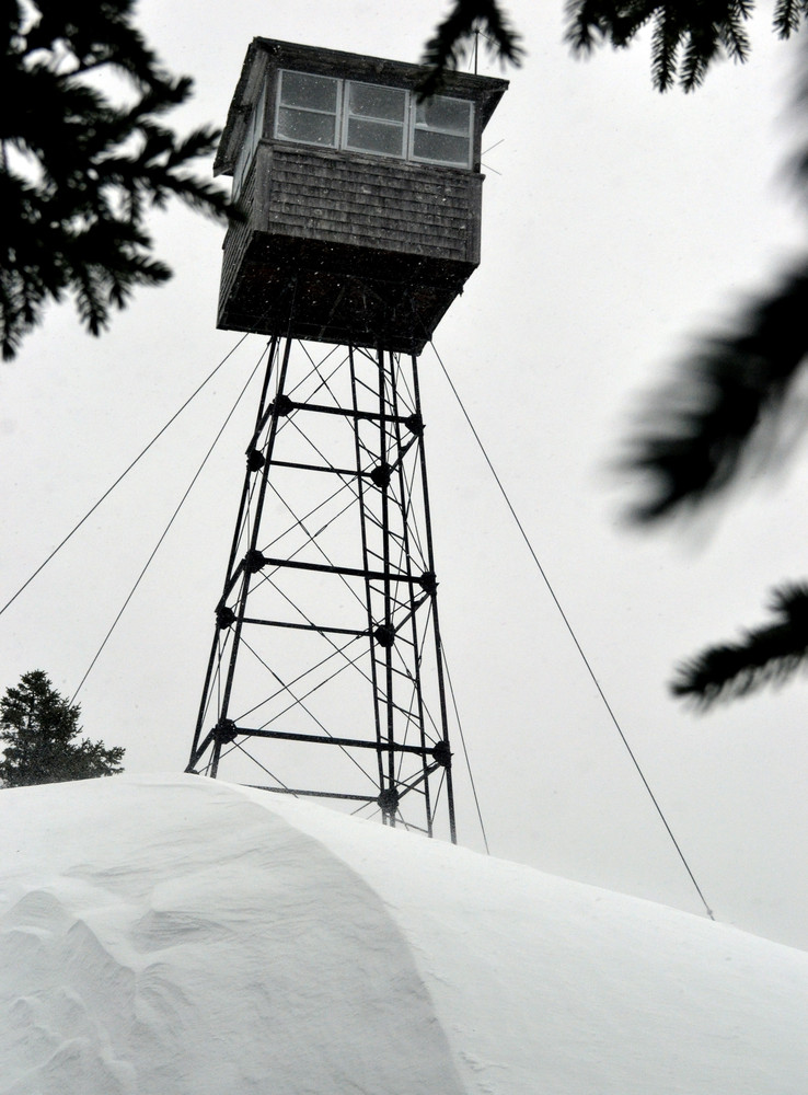 Allagash Mountain firetower in winter (Credit: Maine Bureau of Parks and Lands)