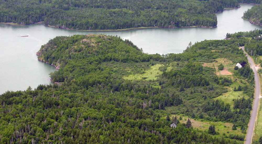 Aerial of Mountain and High Tide (Credit: Downeast Coastal Conservancy)