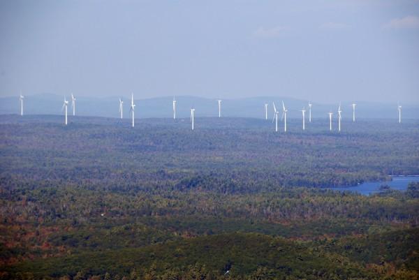 Bull Hill wind turbines from Schoodic Mt--Ugh!!! (Credit: Bard Blake)