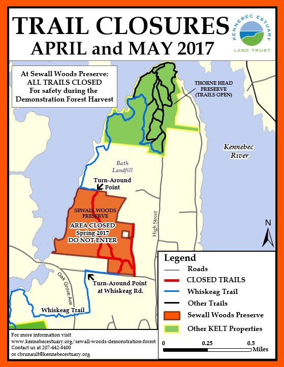 Temporary Trail Closures, spring 2017 (Credit: Kennebec Estuary Land Trust)