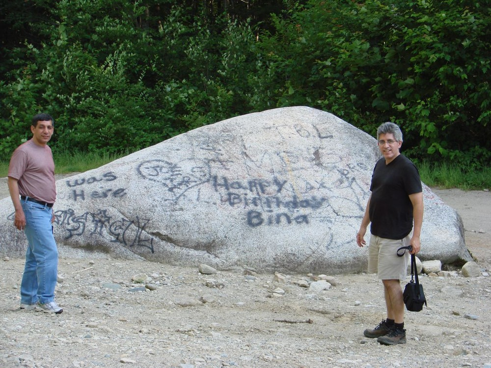 The large boulder in the parking area is difficult to miss (Credit: Susan Mathias)