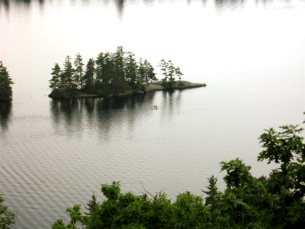 Paddling on North Pond (Credit: Landon Fake)