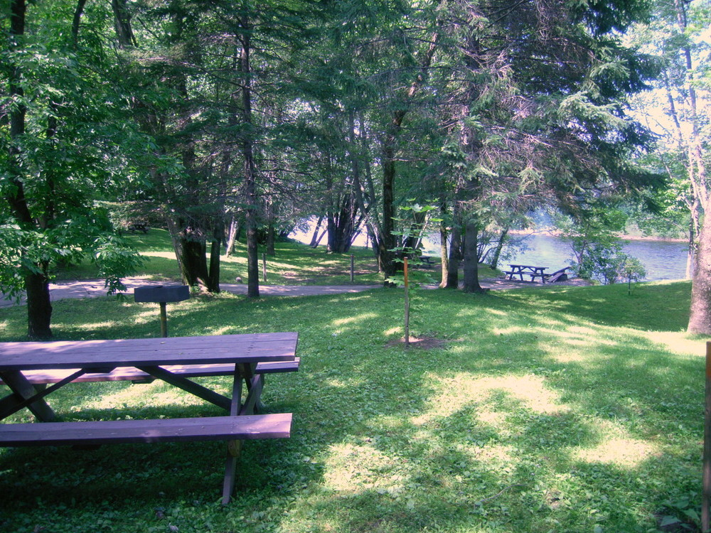 Picnic tables in the historic site park (Credit: Aroostook Outdoors)