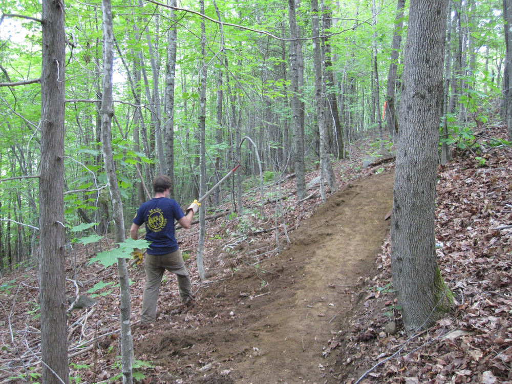 Volunteer Working on New Section of the Trail (Credit: High Peaks Alliance)
