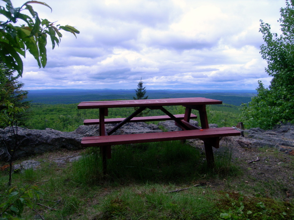 Picnic table and rest area at the summit (Credit: Aroostook Outdoors)
