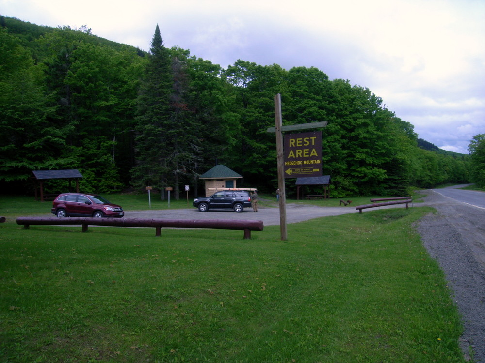 Rest area and parking at the beginning of the trail (Credit: Aroostook Outdoors)