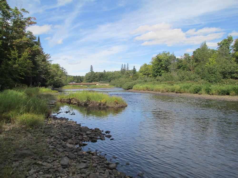 Looking upstream towards Seboeis River Bridge (Credit: Maine Trail Finder)