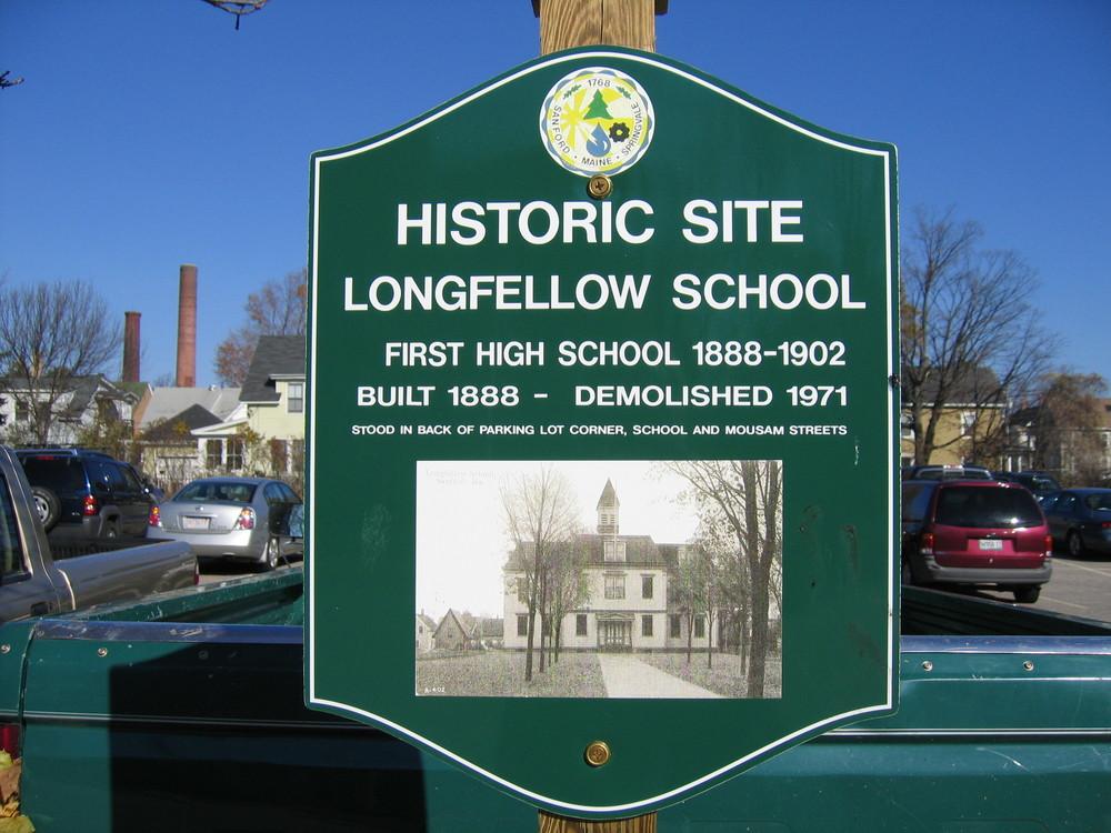 Sign commemorating Longfellow School (Credit: Sanford Trails)