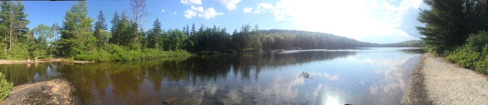 A panorama of Partridge Pond in July, 2017 (Credit: Samantha Lavoie)