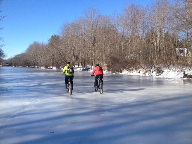 Bikes on ice! (Credit: Royal River Conservation Trust)