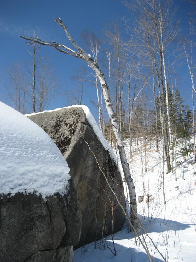 Daggett Rock in the Snow (Credit: Kate Nadeau)