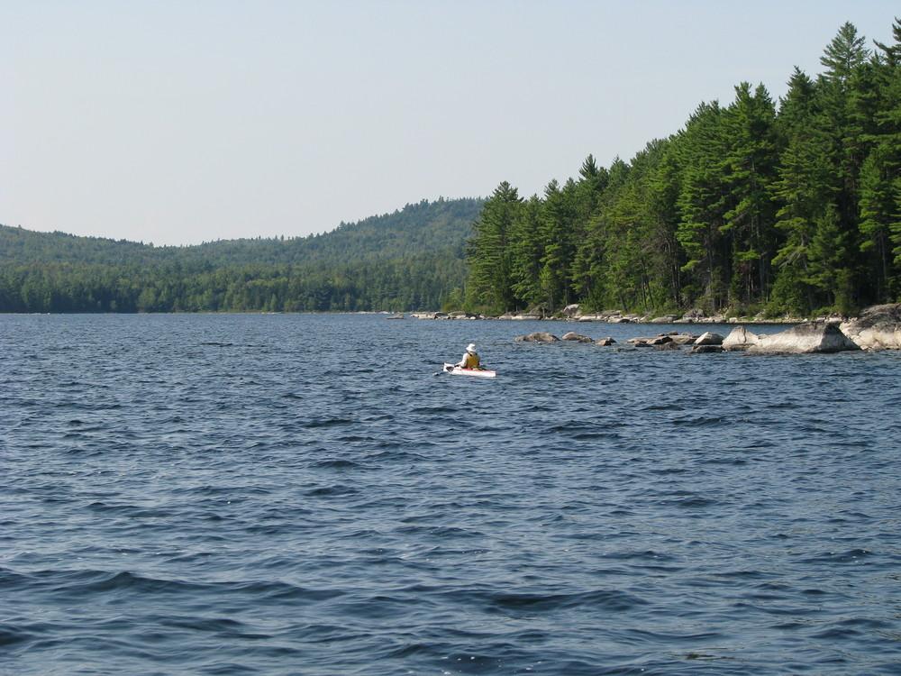 Kayaker, West Grand Lake (Credit: Downeast Lakes Land Trust)