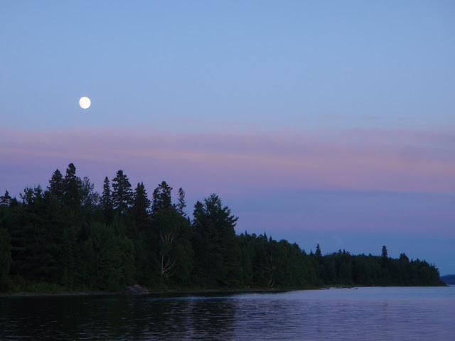 Moonrise over Chamberlain Lake (Credit: Nicole Grohoski)